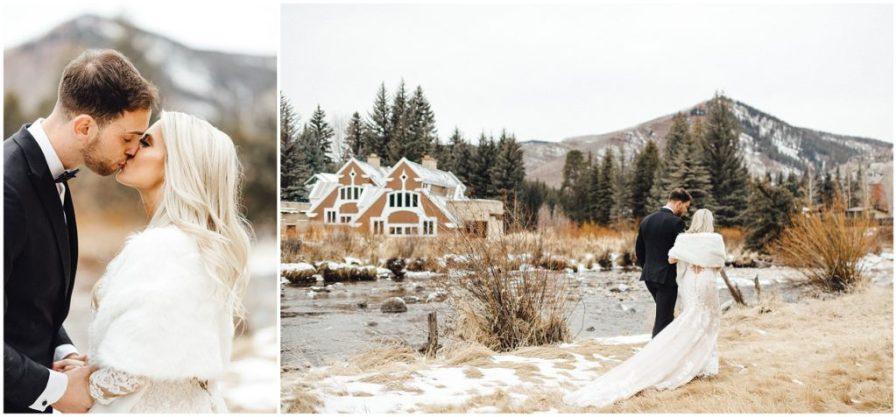 Beautiful snowy winter elopement in Vail Colorado