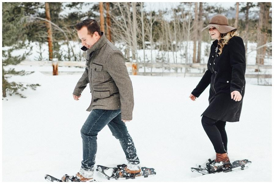 Winter park snowshoeing engagement