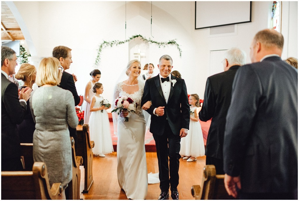 Couple leaving the church after being pronounced man and wife.