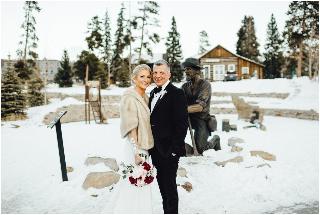 This is where Robbins proposed to Nicole and now they are back for their Breckenridge winter wedding photos.
