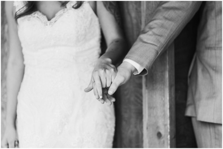 holding hands around a corner