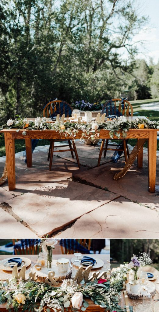 Gold and navy wedding decorations, sweetheart table, sweetheart table ideas, centerpieces
