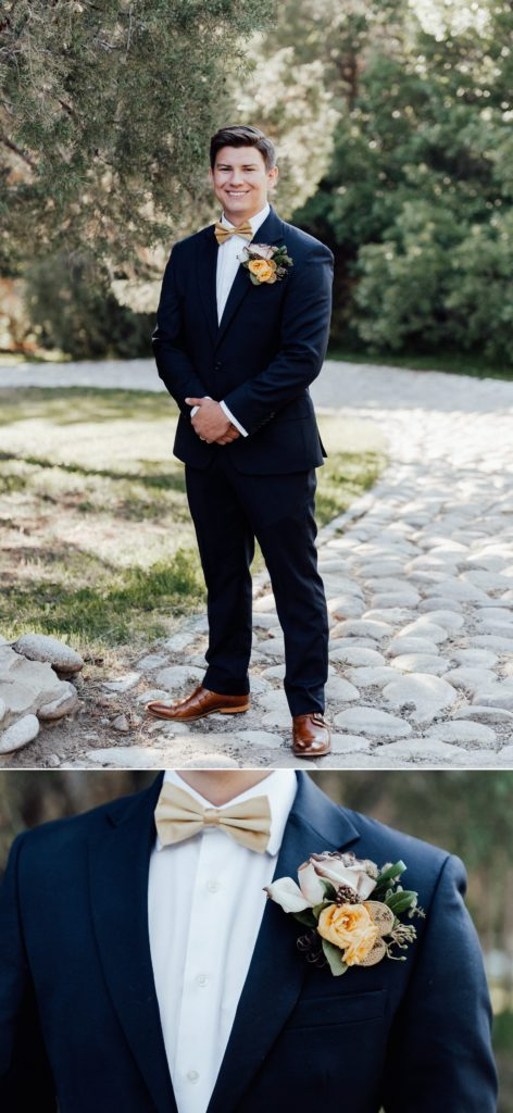 Groom suits, boutonniere ideas, gold and navy wedding