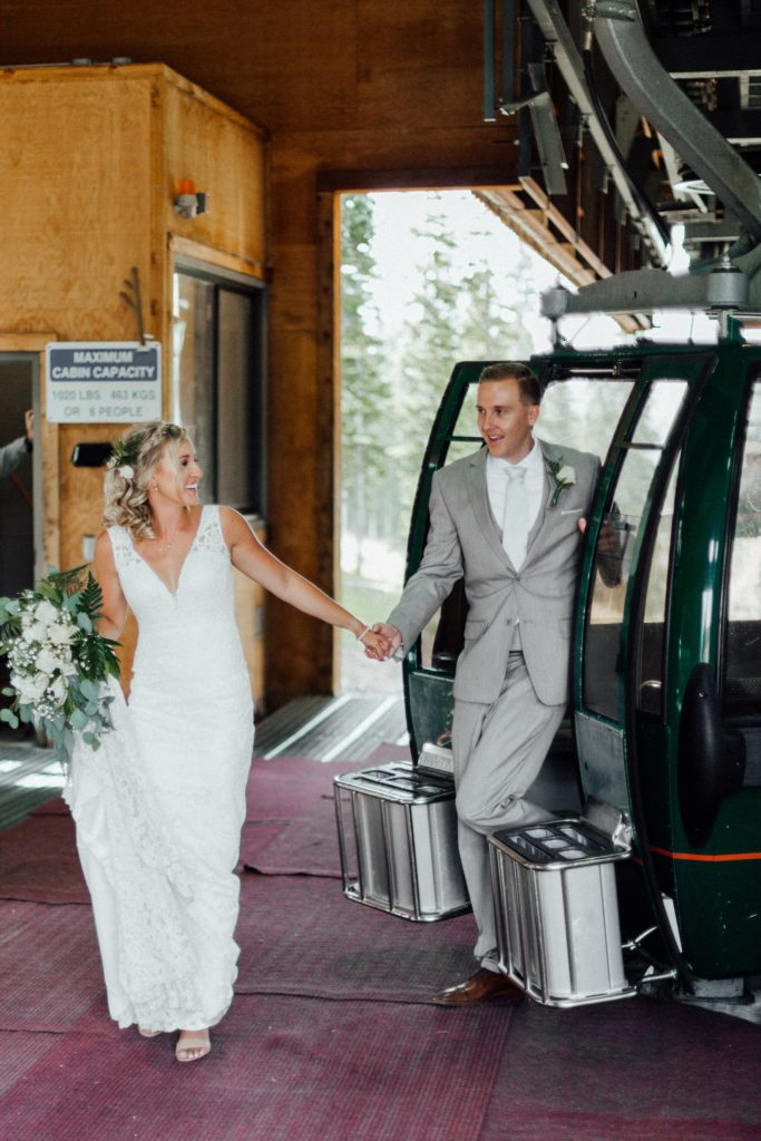 Bride and groom ride Keystone gondola