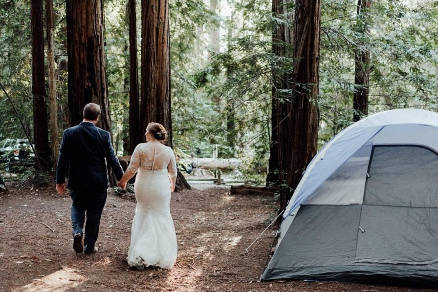 Camping wedding ideas, California Redwoods camp wedding