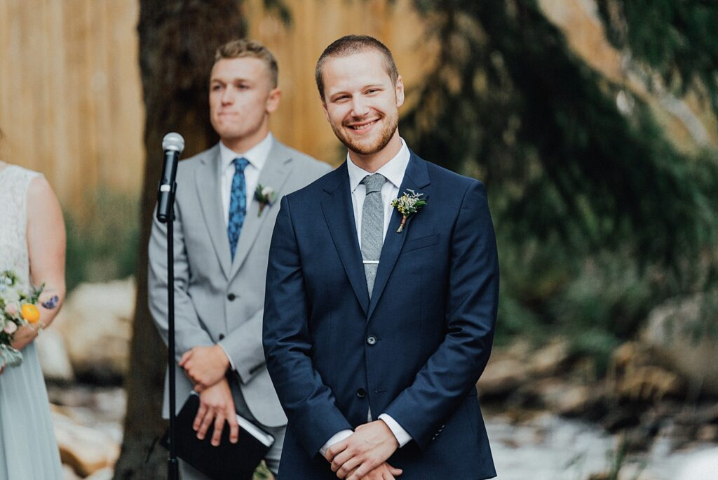 Groom's first reaction to his bride walking down the aisle