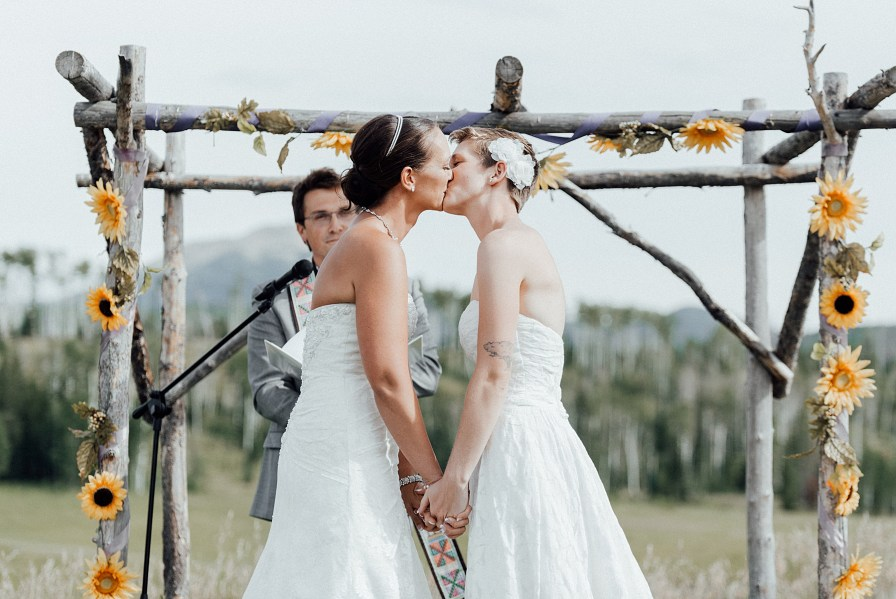 First kiss as wife and wife