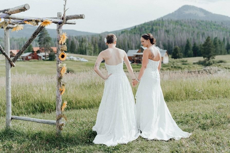Two brides at Midnight Ranch wedding