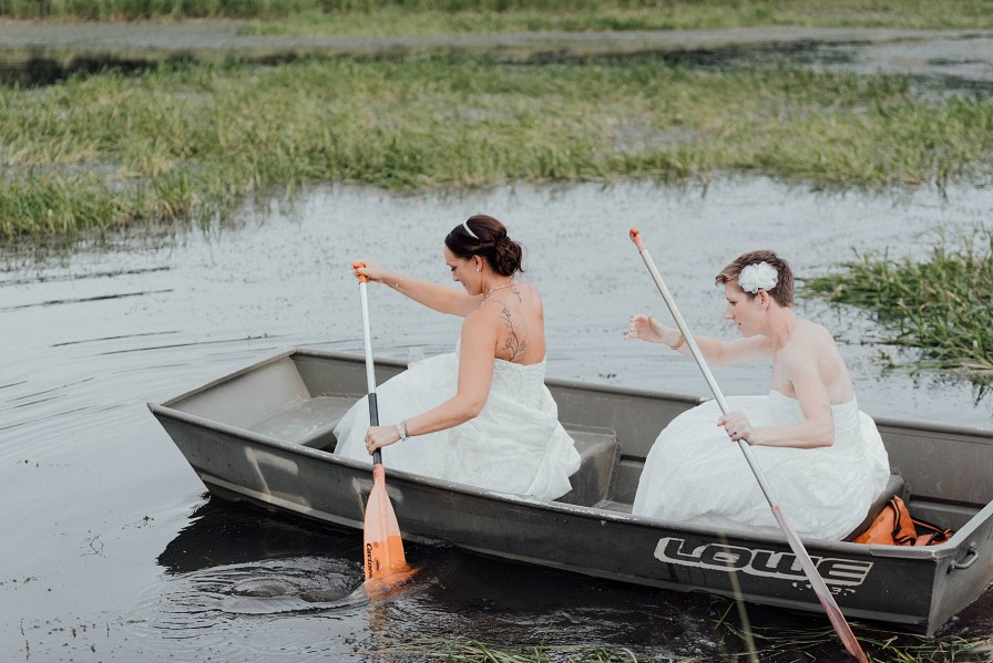 Brides head out onto lake for canoeing