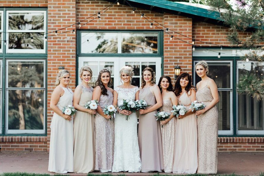 Bride and bridesmaids photo ideas, bridesmaid photo ideas, blush bridesmaid dresses, champagne bridesmaid dresses, blush bridesmaids dresses, bridesmaid dress ideas