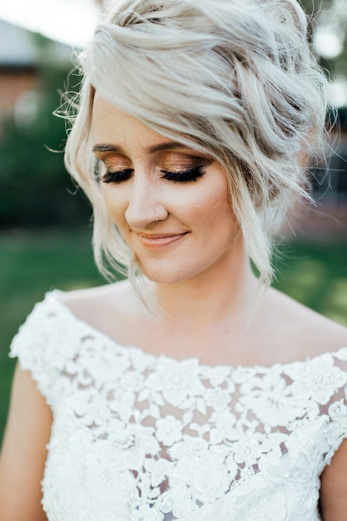 Bridal portraits, wedding dress ideas, high collar wedding dress, wedding bouquet ideas, wedding hair ideas, wedding hairstyle ideas, wedding hairstyles, wedding makeup, wedding makeup ideas, wedding smokey eye makeup
