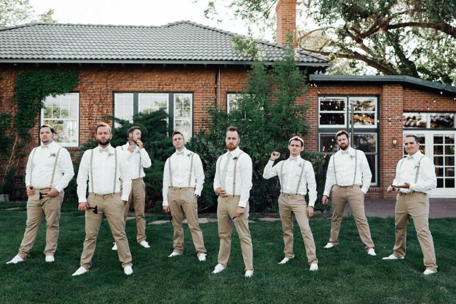 Groomsmen photo ideas, groomsmen outfit ideas, groomsmen suspenders, groomsmen khaki outfits, groom photo ideas