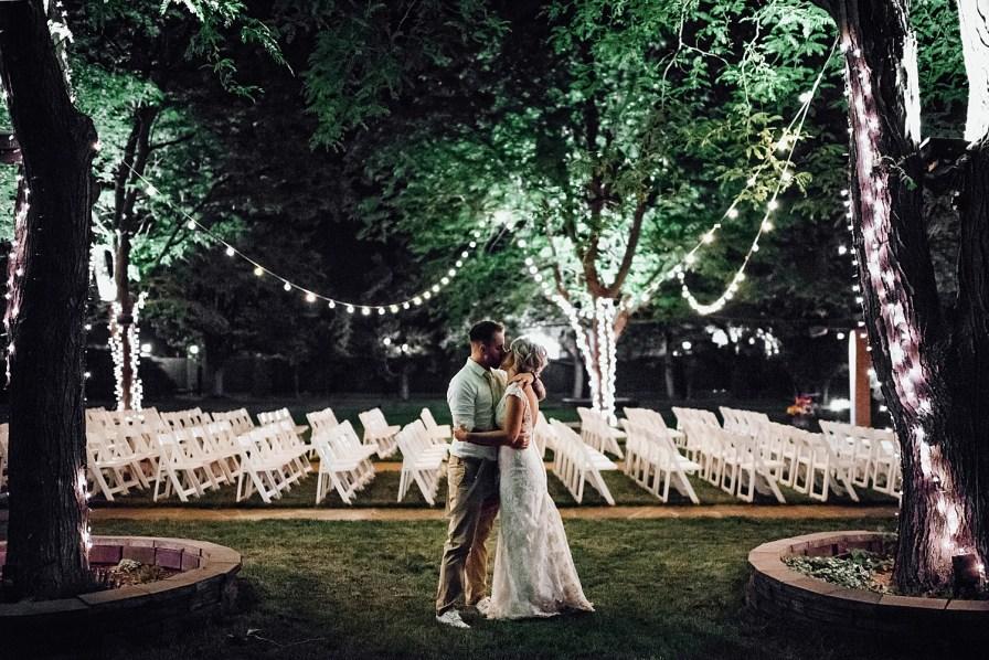 Night time wedding photos, string light wedding photos
