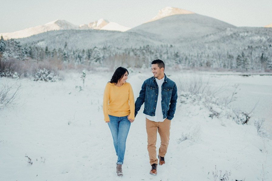 Engagement photos at Lily Lake in Estes Park