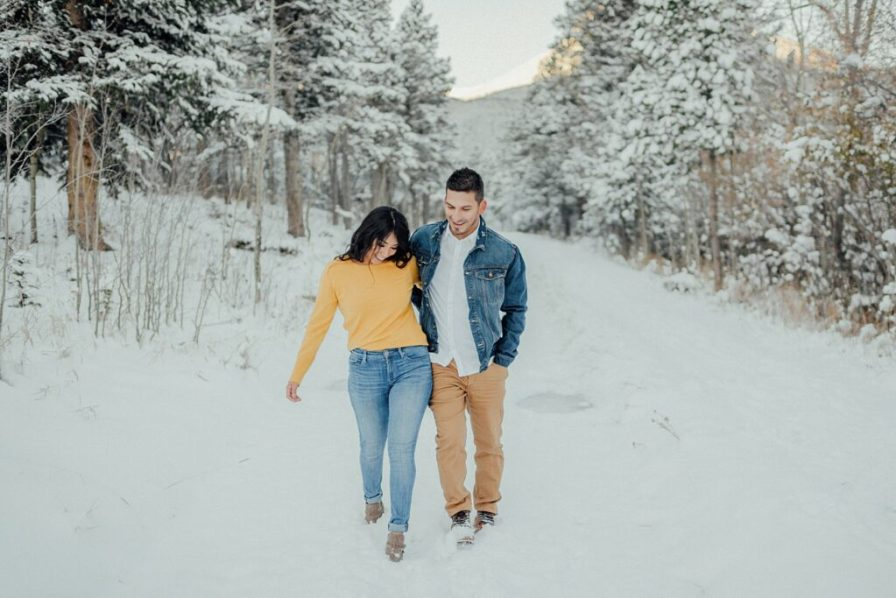 Lily Lake winter engagement photos