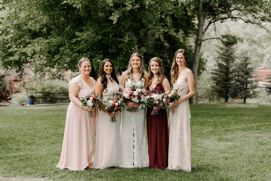mismatching blush bridesmaid dresses
