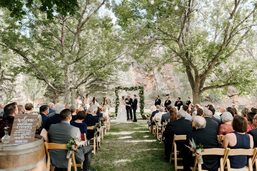 ceremony site for River Bend summer wedding