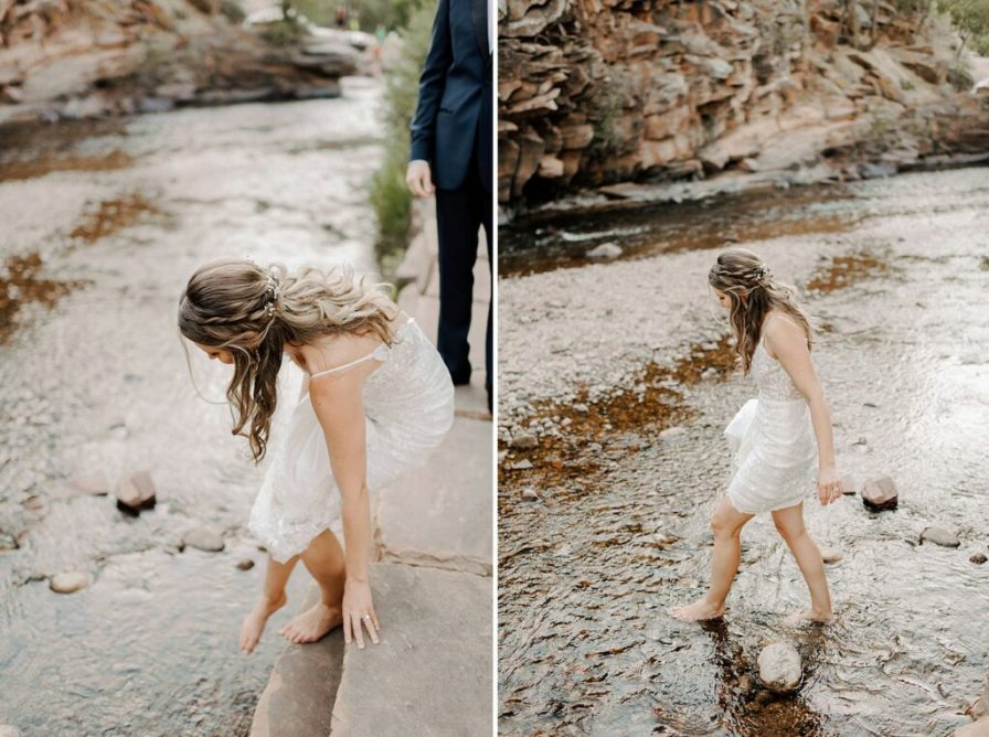 bride takes her shoes off and gets in water