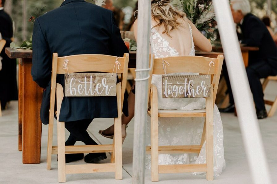 bride and groom reception chair signs