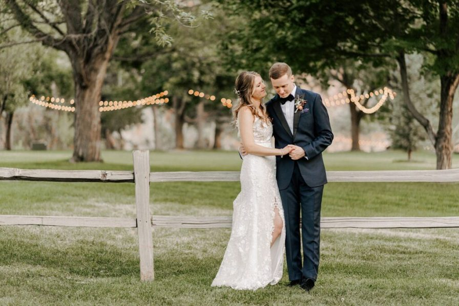 River Bend summer wedding with string lights