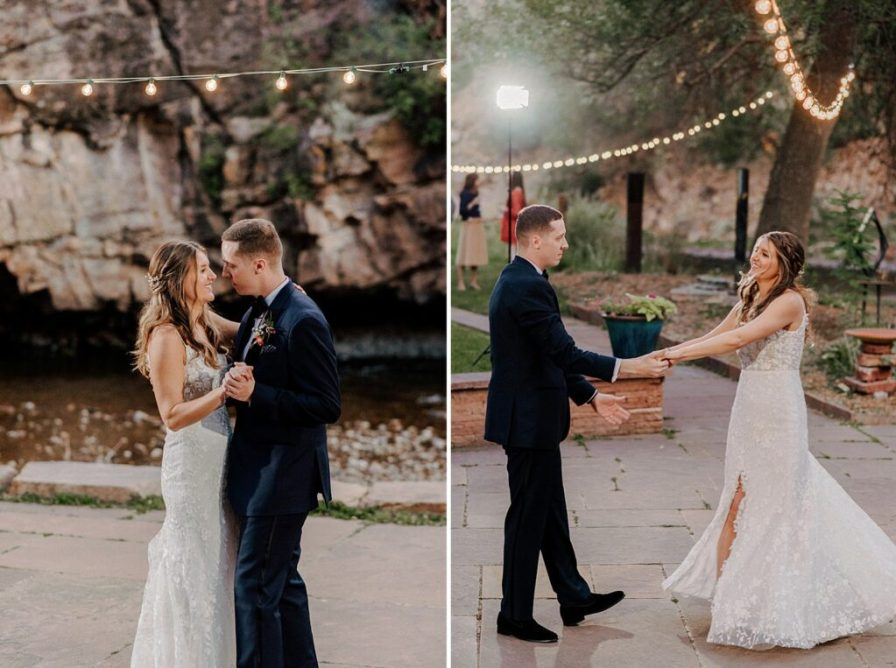 bride and groom have first dance at River Bend summer wedding