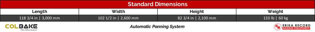 Colbake Automatic Panning System Standard Dimensions