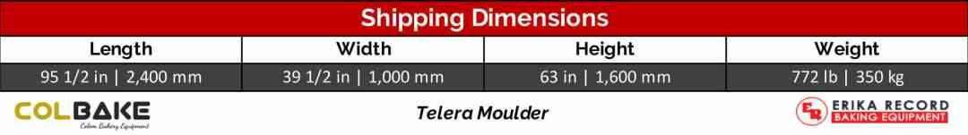 Colbake Telera Moulder Shipping Weight & Dimensions