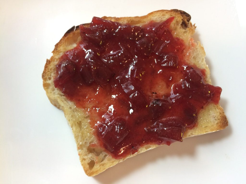 Strawberry Rhubarb Jam on Bread Srsly Sourdough Toast
