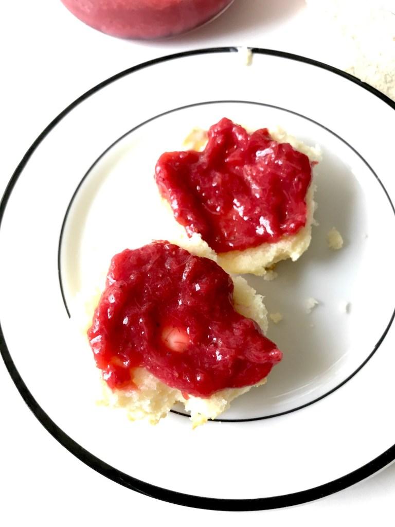Biscuits with Strawberry Rhubarb Butter | Erika's Gluten-free Kitchen erikasglutenfreekitchen.com