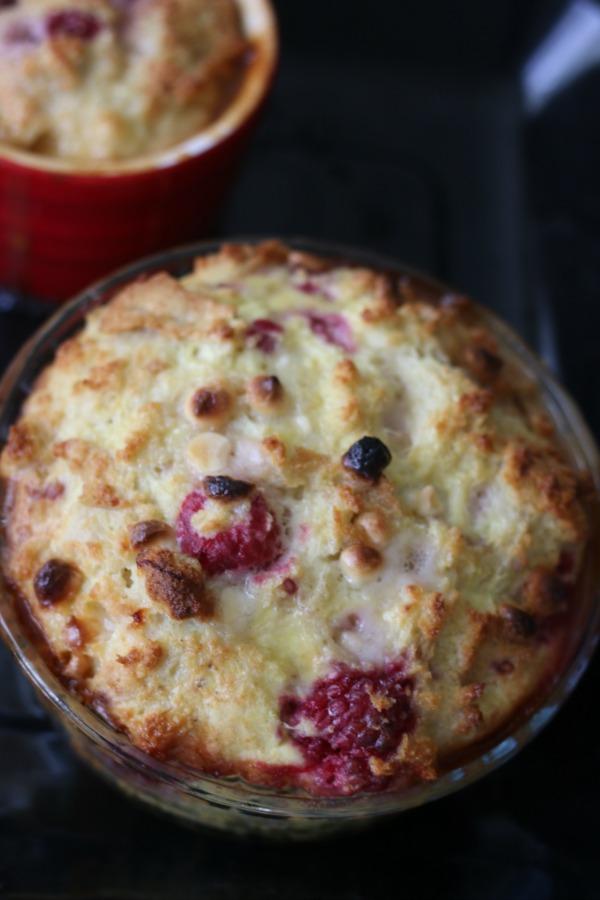 gluten-free raspberry and white chocolate bread pudding | Erika's Gluten-free Kitchen www.erikasglutenfreekitchen.com