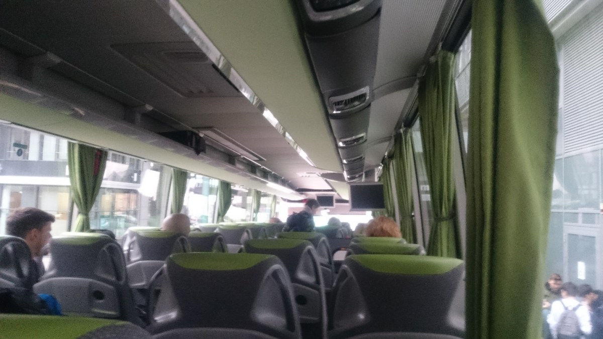 In the bus to Prague - comfortable seats, free WiFI, electrical outlets in the bus. PIC: JS