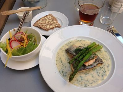 One of my fantastic meals - arctic char, salad, a homemade version of Wasa bread (but much, much better than that), and some decent local beer
