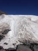 The foot of the Muir Snowfield, the beginning of the snow-covered climbing route