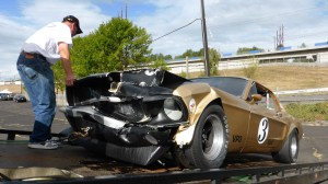 Gold Mustang wrecked