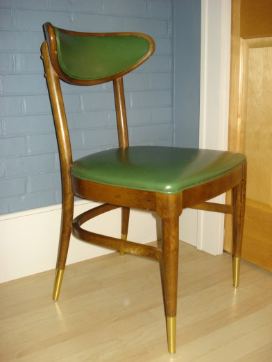 Retro green vinyl and wood chair