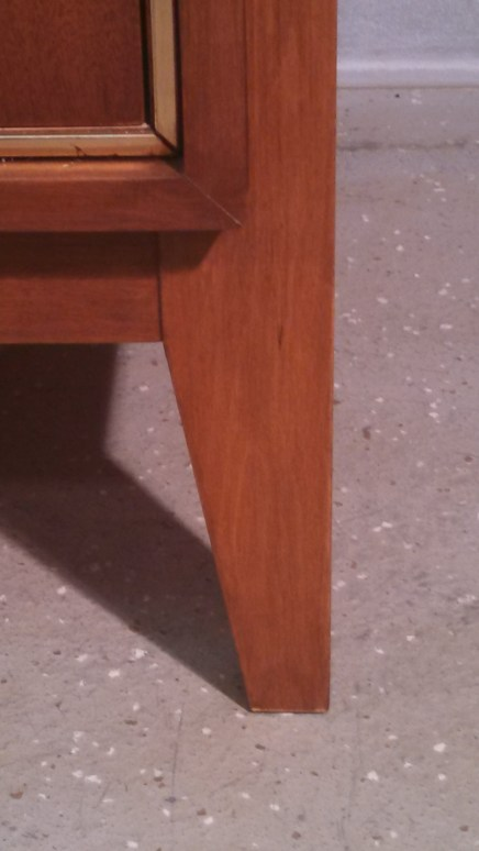 Pic 17 - Repaired leg of finished credenza. We did not get a before shot of this leg, which was split down the middle and had to be glued and clamped.