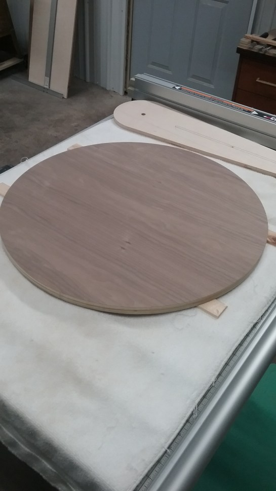 Unfinished round table top made of walnut plywood by Erik & Mary Warner. January 2017, photo by Mary Warner.