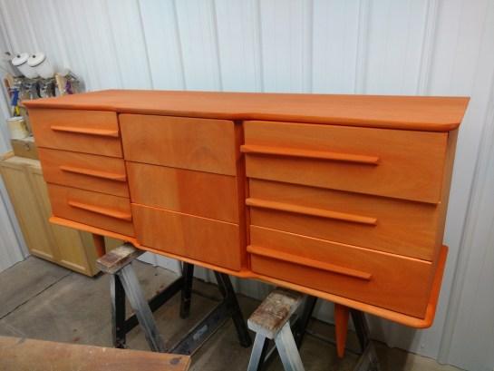 United low-boy, dye stained orange.