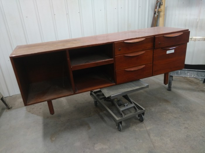 Front of Jens Risom credenza as found.