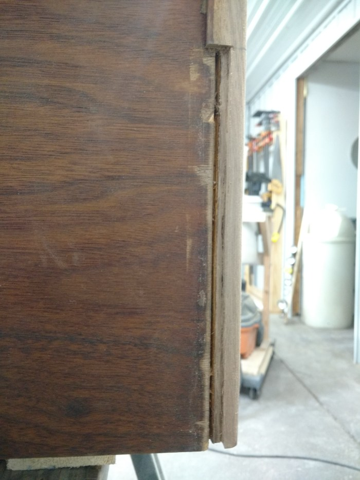 Jens Risom Credenza: Splintered and missing trim.