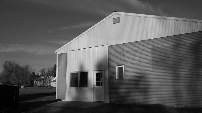 West exterior of Erik G. Warner Decorative Salvage workshop complete, October 2017.