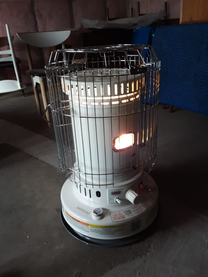 Our trusty kerosene heater that got us through the build-out, November 2018.