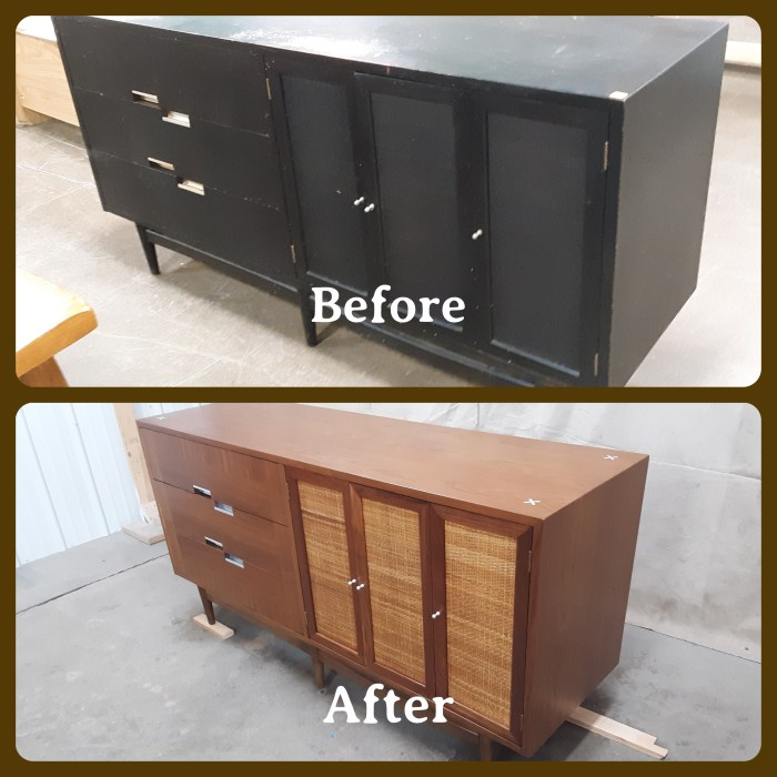 American of Martinsville Accord dresser, before and after, April 2021.
