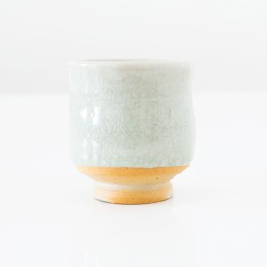 Erik Haugsby Tea Cup Celadon Woodfired Handmade Pottery Ceramics