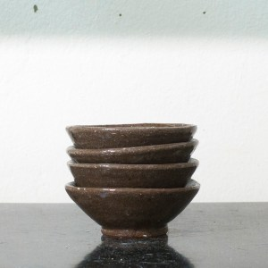 Erik Haugsby Pottery set of four brown bowls made from local clay