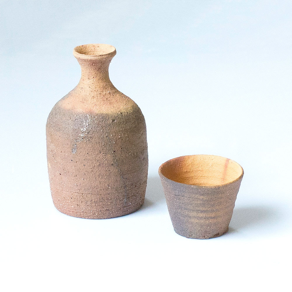 Erik Haugsby Pottery Hidasuki Sake Set Woodfired Ceramics