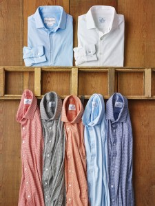 Mizzen And Main White Blue Solid Shirts Tom James
