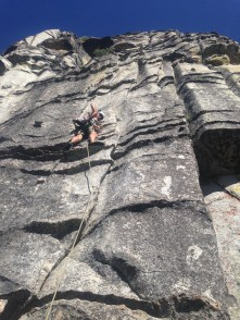 Paul leading P1 of Traveler's Buttress at lover's leap