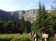 Hiking into Chimney Pond after ~3 miles on the trail.