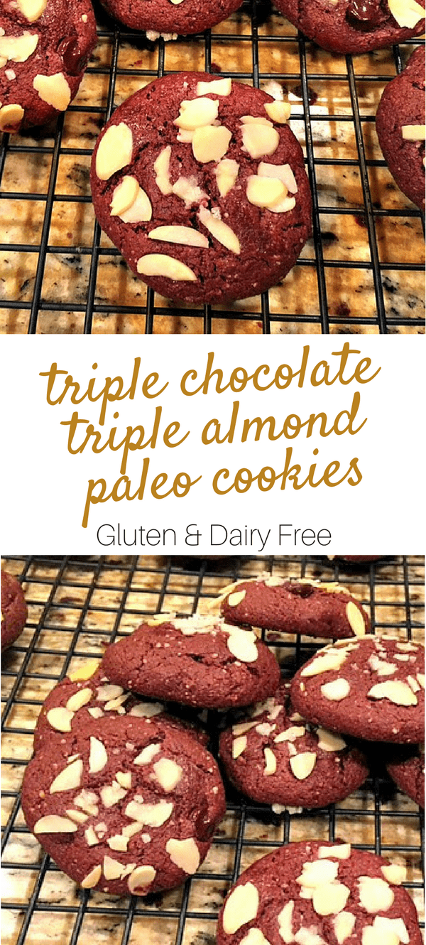 Triple Chocolate Triple Almond Paleo Cookies